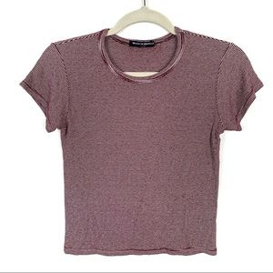 BRANDY MELVILLE Crop Top Striped Maroon One Size